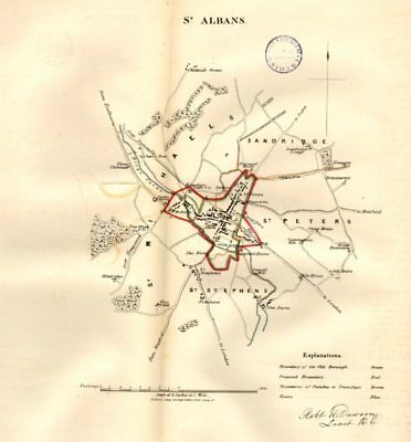 ST ALBANS borough/town/city plan. REFORM ACT. Hertfordshire. DAWSON 1832 map