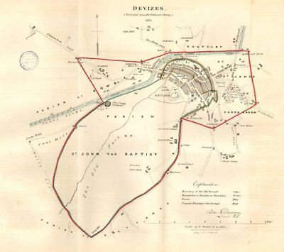 DEVIZES town/borough plan REFORM ACT. Caen Hill Locks Wiltshire. DAWSON 1832 map