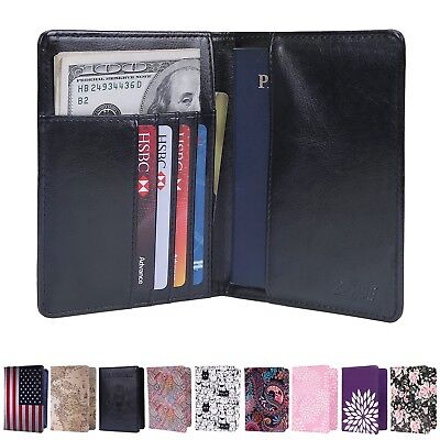 RFID Blocking Passport Organizer Holder Travel Card Case Cover Protector Wallet
