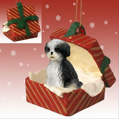 Shih Tzu Black White Puppy Cut Dog RED Gift Box Holiday Christmas ORNAMENT