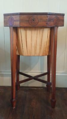 Elegant Georgian Octagonal Inlaid Satinwood & Silk Needlework Table with Key