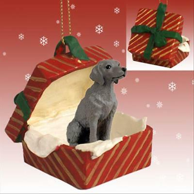 Weimaraner Dog RED Gift Box Holiday Christmas ORNAMENT