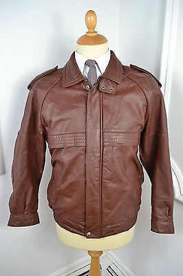 VINTAGE 1980's BROWN OXBLOOD LEATHER BOMBER JACKET BLAZER SMALL 38 REGULAR