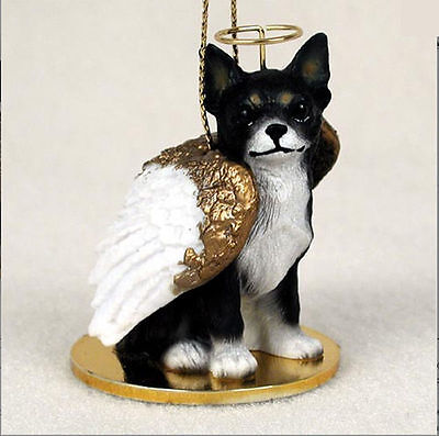 Chihuahua Dog Figurine Ornament Angel Statue Hand Painted Black/White