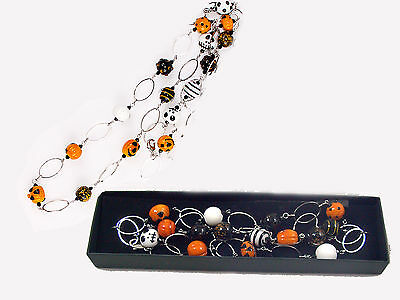 HALLOWEEN BAUBLE NECKLACE Pumpkin Fashion Glass Jewelry GOTHIC costume accessory
