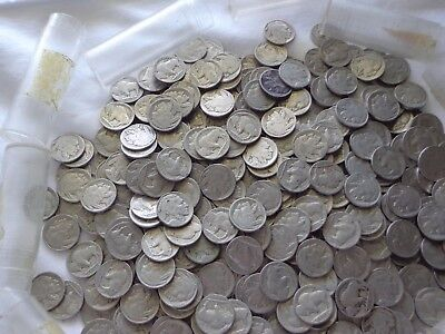 ROLL of 40 PLUS ASSORTED WELL CIRCULATED BUFFALO NICKELS, DATED & WORN UNDATED