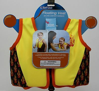 Surf Club Yellow Black Flames Child Floating Life Vest Medium 25-26 in Chest NWT