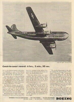 1945 Boeing C-97 Army Transport Plane Aircraft Photo Ad : Vintage Advertising