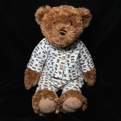 "FAO Brown Teddy Bear Plush  Flannel Pajamas Bean Bag 15"" White Bears Stuffed"