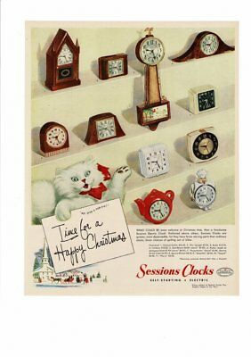 Vintage 1947 Sessions Clocks  Electric Wall Mantle Kitten Christmas Ad Print