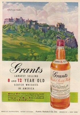 1951 Grant's Scotch Whisky Edinburgh Castle Scotland Ad