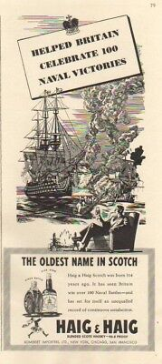 1942 HAIG Scotch~PINCH Bottle Britain Naval Battles ad