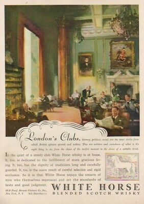 1947 White Horse Scotch Whiskey London Clubs England Ad MMXV