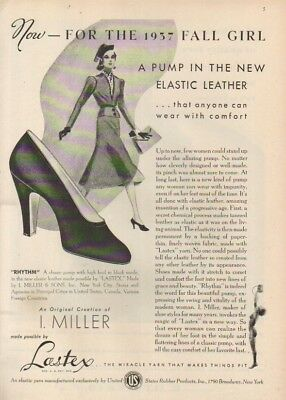 1937 I Miller Rhythm Pump Shoe Lastex Fashion 30s Photo~Fall Girl Ad MMXV