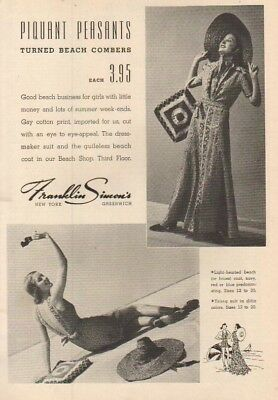 1937 Franklin Simon's Women's Fashion Store Greenwich NY 1930s Beach Fashion Ad