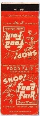 Supermarket Matchbook Cover Food Fair Orange Grand Union