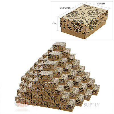 """100 Damask Print Cotton Filled Jewelry Gift Boxes 2 5/8"""" X 1 1/2"""""""