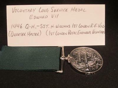Pre-WWI King Edward VII Volunteer Long Service & Good Conduct Medal Sjt WIlliams