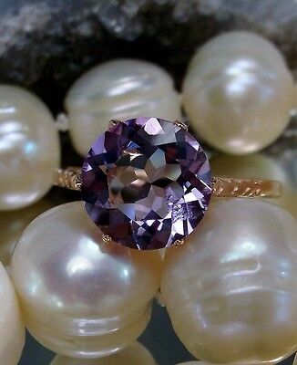 Natural Amethyst Sterling Silver &Rose Gold Edwardian Filigree Ring Size ANY/MTO