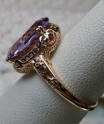 5ct Natural Amethyst 10k Rose Gold Edwardian Filigree Ring Size: {Made To Order}