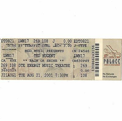 TED NUGENT Concert Ticket Stub CLARKSTON MI 8/21/01 DTE ENERGY CAT SCRATCH FEVER