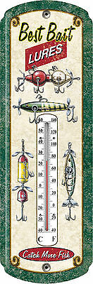 Antique Fishing Lures Tin Thermometer Vintage Look,Fish Lure 1350