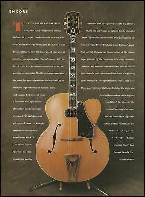 The 1934 Gibson Super 400 CN Vintage Guitar 8 x 11 pinup photo 1991 article