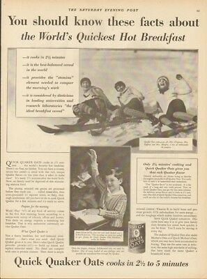 1929 Quick Quaker Oats Snow Skiing-Women Ski Jumpers Photo Vintage 1920s Ad