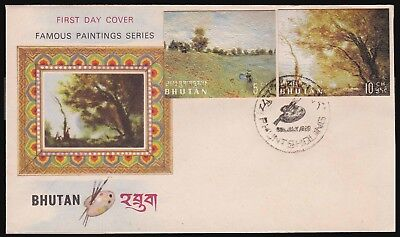 Bhutan 1980 Famous Paintings Series 2 Vals On A Nice Illustrtd Cvr W/sp Franking