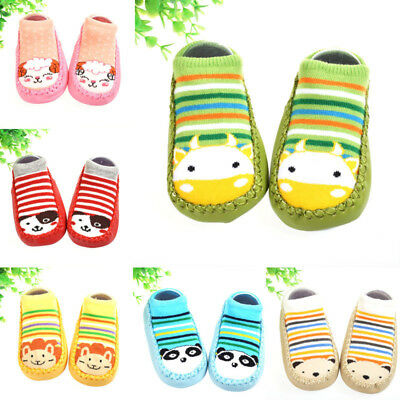 Soft Warm CUTE Anti-slip Shoes Casual TODDLE Kids Baby Boots Slipper Socks 0-3Y