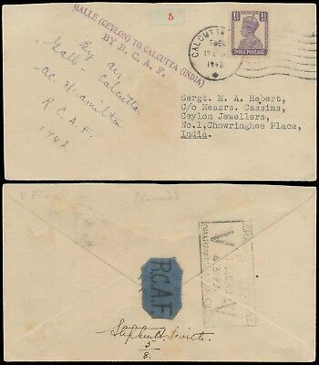 INDIA 1942 GALLE CEYLON TO CALCUTTA BY RCAF 5th OF 8 CARRIED VERY RARE FLOWN CVR