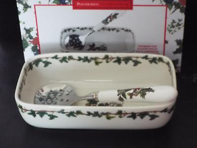 Portmeirion The Holly & Ivy CRANBERRY DISH & SLOTTED SPOON New & Boxed.