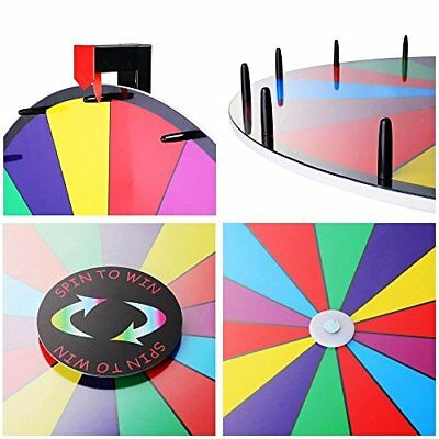 """Game 24"""" Tabletop Spinning Prize Wheel 14 Slots Color Dry Erase Trade Show Spin"""
