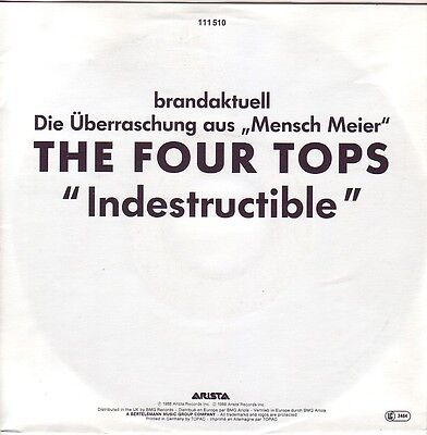 """""""7"""" - FOUR TOPS - Indestructible - ONE-SIDE-PROMO !!!"""