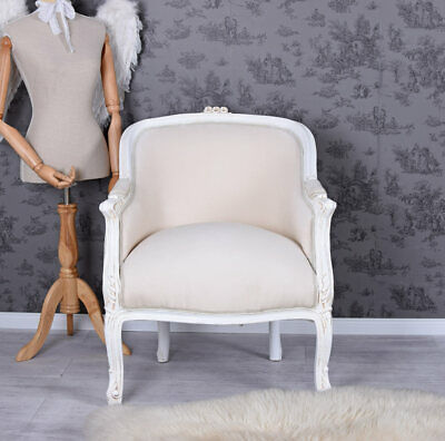 Vintage Armchair White Shabby Chic Chair Antique French Nostalgic
