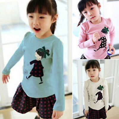 Autumn Baby Kid Girls Toddler Long Sleeve Cotton Cartoon Crew Neck Tops T-shirts