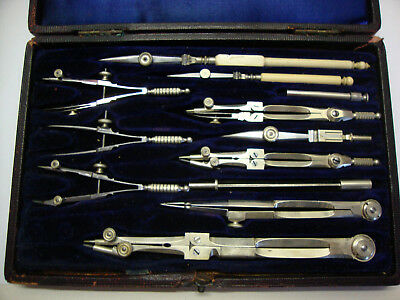 Antique cased draughtsman drawing set made by JACKSON BROS LTD