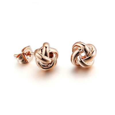 Fashion Women Girls Twisted Rose Ear Stud Earrings Jewelry Gold/Silver Plated