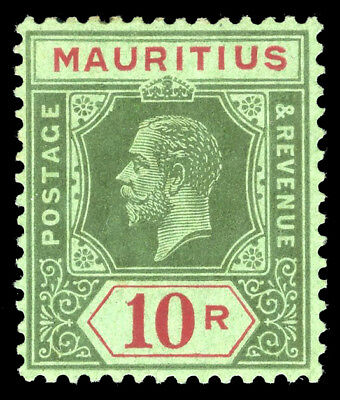 Mauritius 1913 KGV 10r green & red/green mint cat £110 ($148). SG 204. Sc 159.