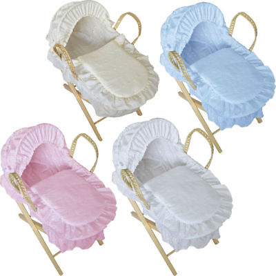 Stunning Dolls Reborn Moses Basket with Wooden Stand -  Broderie Anglaise Design