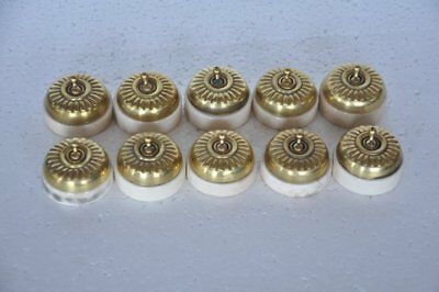 10 Pc Vintage Melon Shape Brass & Ceramic Victorian Electric Switches, Germany