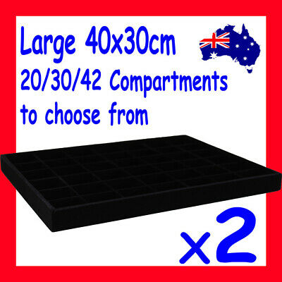 2X FULL Velvet Jewellery Tray-40x30cm | 20/30/42 Compartments | AUSSIE Seller