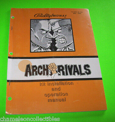 ARCH RIVALS By BALLY MIDWAY '89 ORIGINAL VIDEO ARCADE GAME SERVICE REPAIR MANUAL