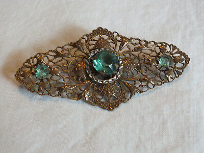 Beautiful Brooch Pin Gold Tone Filigree Silver Tone Green Prong Set Rhinestones