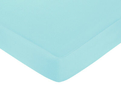Sweet Jojo Designs Funky Zebra Crib or Toddler Fitted Sheet - Turquoise Cotton