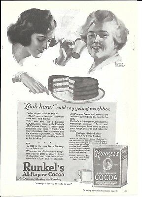 1920 Runkel's All Purpose Cocoa Ad Young Neighbor