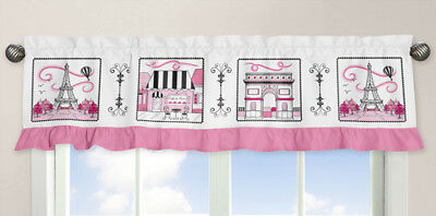 Window Valance Curtain For Sweet Jojo Design Pink Black White Paris Girl Bedding