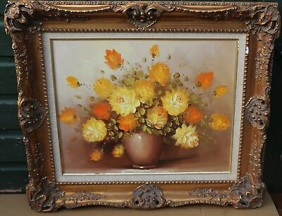 Beautiful Large Fancy Gilt Framed Painting On Canvas Of Vase Of Flowers   (2