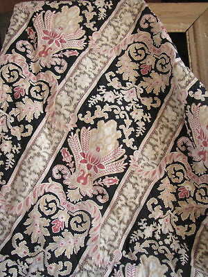 Antique French Art Nouveau quilt pink black linen back