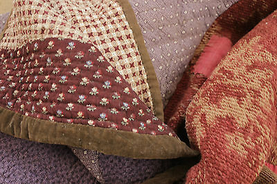 Antique French pieced quilt small scales c1830 wall hanging table cover textile